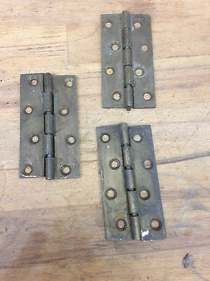 "Three Reclaimed  3 1/2"" Brass Rising Butt Hinges"