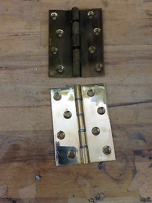 "Two Reclaimed  4""  Brass Hinges"