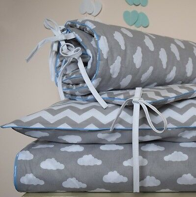 baby COTTON Cot Bed Duvet Cover Set Boys Grey CHEVRON CLOUDS BLUE  piping