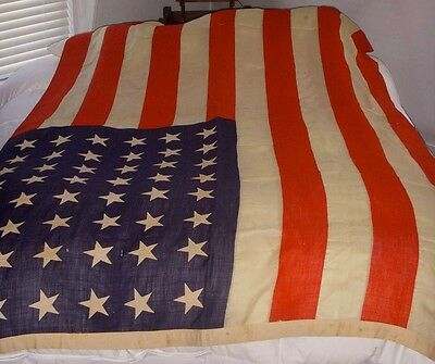 Big, Beautiful WWII Era 48-Star United States Flag in Multi-Piece Wool, Cotton