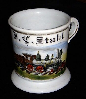 Beautiful Antique Vintage 1880s-1890s Railroad Engineer Shaving Mug