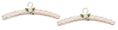 DOLLHOUSE MINIATURE Crocheted PINK  Hangers w/Flowers - 2 pcs Sewing Room Shoppe
