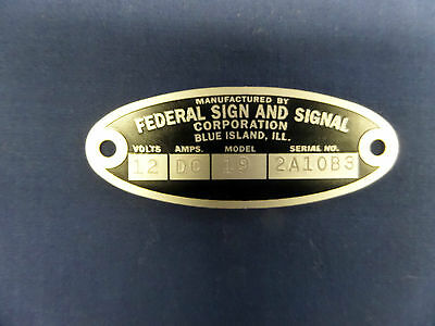 Federal Sign and Signal 18 Solar Ray & 19 Propello Ray 12 Volt Replacement Badge