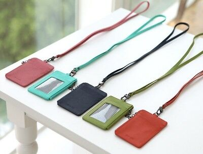 Badge Id Holder Press Pass Lanyard Card Leather Wallet oyster Tag Neck Strap