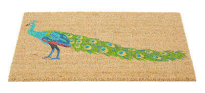 Gardman Peacock Printed Coir Door Mat 45x75 Home Garden Patio Indoors Outdoors