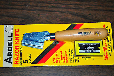 Ardell Razor Trimming Cutting,Wall Covering knife w/5 blades wood handle USA