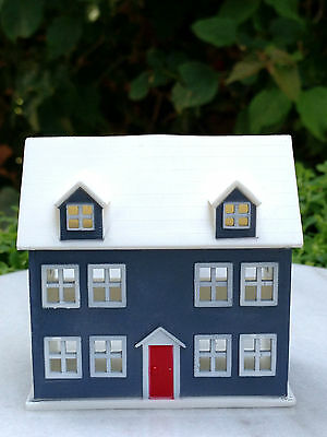 Miniature Dollhouse FAIRY GARDEN ~ TINY Blue & White Dolllhouse ~ NEW