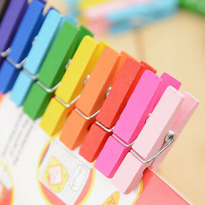50/100  Mini Colorful Wooden Clothe Photo Paper Peg Clothespin Craft Clips