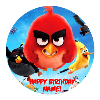Angry Birds Movie Personalised Edible Birthday Party Cake Topper Image