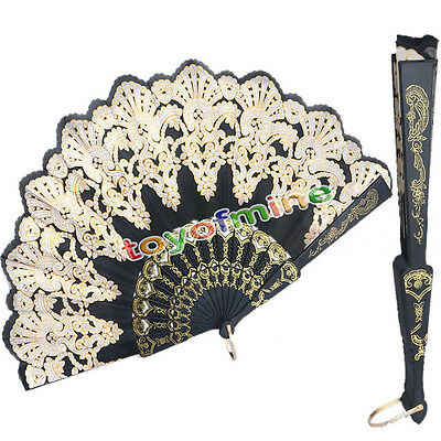 Black Silk Folding Lace Hand Held Dance Party Spanish Style Flower Fan