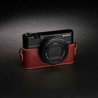 Real Leather Half Camera Case Bag for SONY RX100 II III IV V M2 M5 MARK II Brown