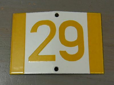 YH10 * Rare Porcelain Enameled House Number Sign 29 * Antique German 1930's