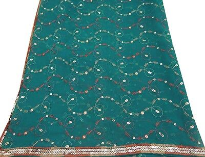 Vintage Dupatta Long Indian Scarf Women Wrap Embroidered Fabric Blue Veil Stole