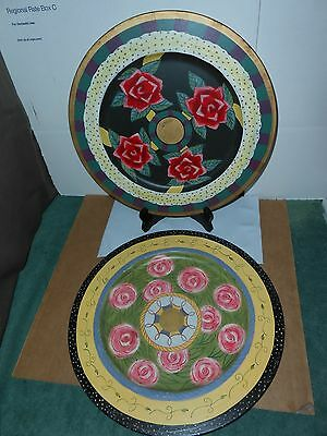 "2 Vtg Hand Painted Floral Enamel On Brass Large 12"" Decorative Plates India"