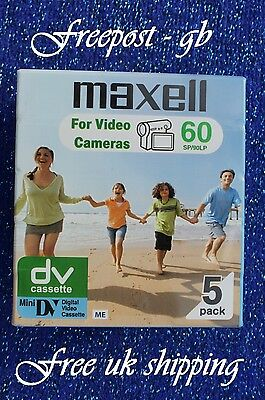 5 x MAXELL TOP QUALITY DVM-60 MINI DV DIGITAL CAMCORDER TAPE/ CASSETTES - NEW
