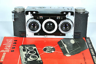 VINTAGE 1950s DAVID WHITE STEREO REALIST CAMERA w/ LEATHER CASE & REALIST BOOK