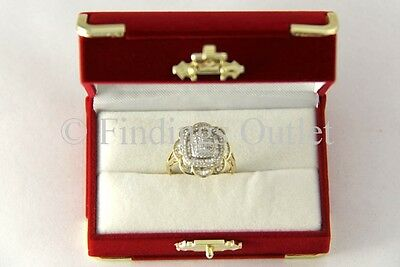 Treasure Chest Style Fancy Flocked Velour Red Double Ring Jewelry Gift Box