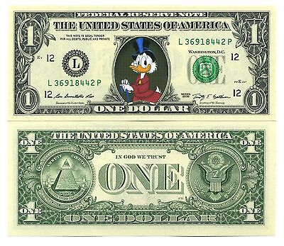 PICSOU - VRAI BILLET 1 DOLLAR US ! COLLECTION WALT DISNEY oncle Dagobert Duck #2