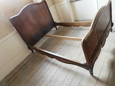 ANTIQUE LARGE DOUBLE CARVED WOOD FRENCH BED c.1890s IDEAL FOR PAINTING