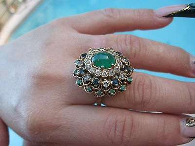 Panetta Vtg Sz 7 Sterling Vermeil Signed Domed Emerald/sapphire/jade/clear Cryst