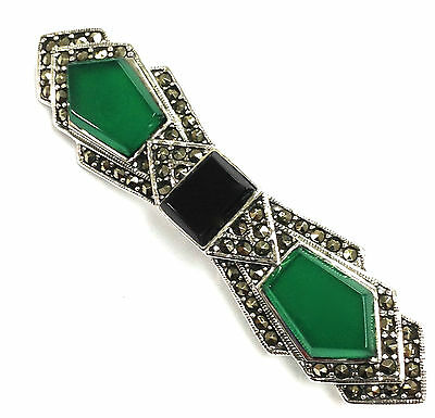 Stunning Art Deco Style Jade Onyx And Marcasite Brooch 925 Sterling Silver