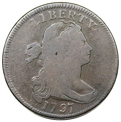 1797 Draped Bust Large Cent, Reverse of '97, Stems, S-136, choice G-VG