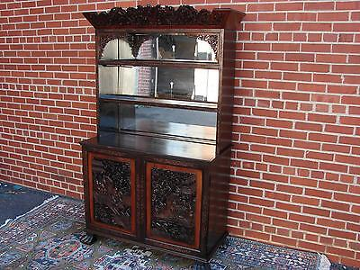 Antique Carved Chinese Cabinet With Dragon Motif