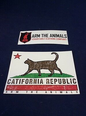 "Arm the Animals CATIFORNIA REPUBLIC 4.25"" X 6"" Animal Rights FREE SHIP"