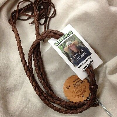 "Usa Braided Leather Deerskin 18"" Stampede Strings Handmade Handbraided Darkbrown"