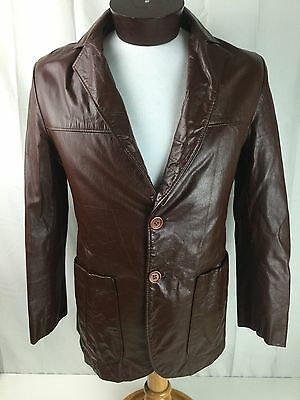 JEAN PIERRE Argentina Vtg 70s Leather Jacket Blazer Mens 36 Small Brown Fitted