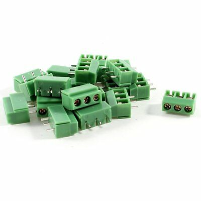 20 Pcs 3 Pin 5mm Pitch PCB Mount Screw Terminal Block AC 250V 8A DT