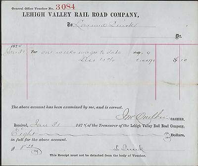 Lehigh Valley Railroad Expense Voucher Dated 1874 for 1 Weeks Wages RP59