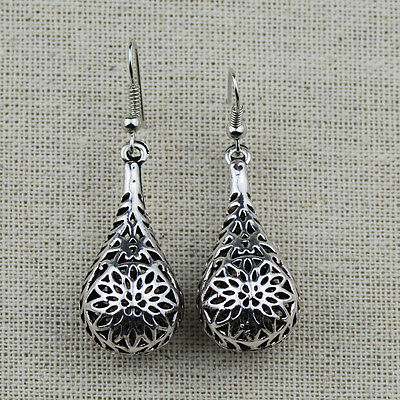 Retro Vintage Silver Hollow out  Water Drop Dangle Earrings For Women Lady