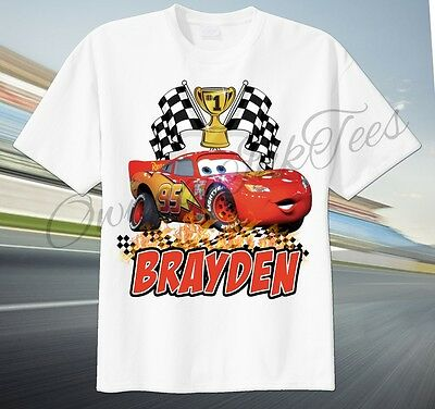 Cars Lightning McQueen Custom T-shirt Personalize Birthday gift Choose NAME
