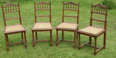 A Good Set Of 4 Good Strong French  Cane Seat Oak Dining Chairs
