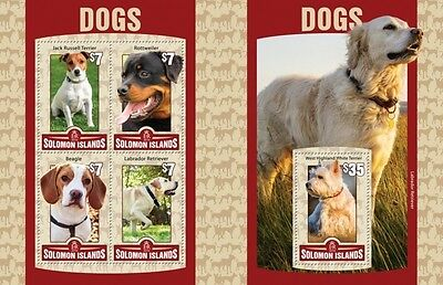 Z08 Imperforated SLM16106ab SOLOMON ISLANDS 2016 Dogs MNH Set