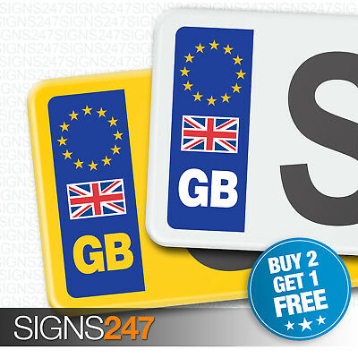 PAIR GB CAR NUMBER PLATE STICKERS WITH UK FLAG - EU European Vinyl Sticker Decal