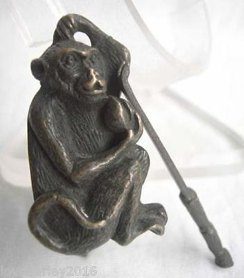 Rare Chinese old style Brass Carved Monkey padlock lock and key
