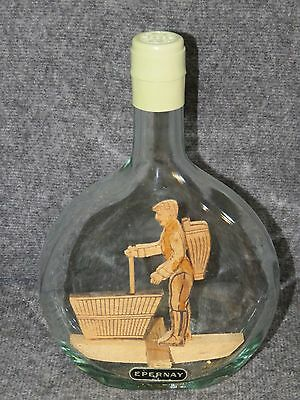 RARE Vintage Handmade Wooden Figure Inside a French Epernay Liquor Bottle