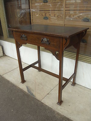 Small Antique Arts & Crafts Desk / Antique Art Nouveau Oak Hall Table