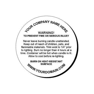 """24 Personalized Candle Warning Round Glossy Labels Stickers 1.67"""""""