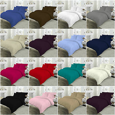 T180 Percale Duvet Quilt Cover Set Pillow Case Bedding Set Single Double King