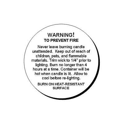 48 Generic Candle Warning Round Glossy Labels Stickers 1.2""