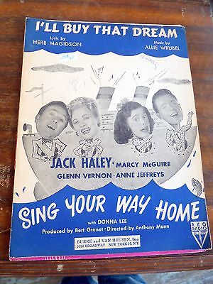 Vintage Sheet music I'll Buy That Dream Soundtrack Sing Your Way Home,RKO Radio