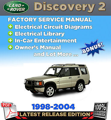 1998-2004 Land Rover Discovery 2 Service Repair Manual WORKSHOP +WIRING, Owner's