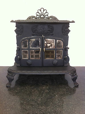 Antique Victorian Large Cast Iron Brass Wood Burner Stove Fireplace Log (PK353)