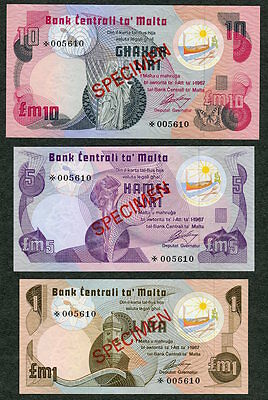 1978 Central Bank of Malta 3 Banknote Specimen Set £M1, £M5 & £M10 UNC w/COA