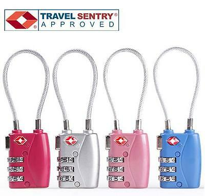 Jasit 3- DIAL TSA Accepted Cable Luggage Suitcase Travel Security Lock - Silver
