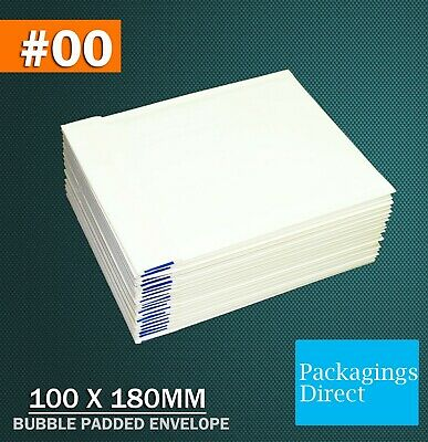200x Bubble Envelope #0 100x180mm Padded Bag Mailer SIZE 00 - White Printed