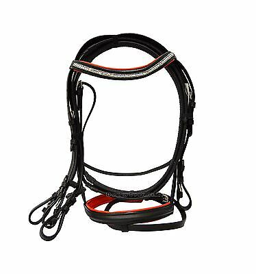 Leather Diamante Horse Bridle Equestrian Rubber Reins Black With Red Padded